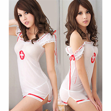 Buy Hot sale sexy lingerie COSPLAY nurse babydoll dress temptation costume transparent open crotch sexy underwear teddies Uniform