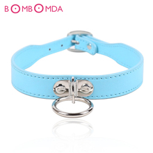 Buy Collar Ring Roleplay Adjustable Belt Slave Bondage Restraints PU Leather Sex Collars Couples Women Men