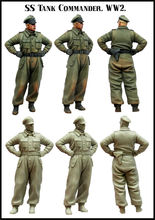 [tuskmodel] 1 35 scale resin model figures kit WW2 SS tank offiecr set1(China)