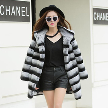 Women winter fur jacket Thick warm Chinchilla Color Real rex Rabbit Fur Coat with Hood long style strip lady fur clothing(China)