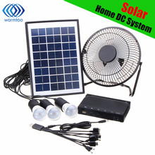 Solar Power Panel Charging DC USB LED Light Lamp Fan Kit For Home Outdoor Camping(China)