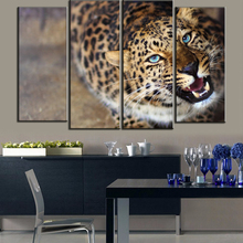 Fashionable Blue Eyes Cheetah Modern Animal Wall Painting 4 Pieces Set Watching Tiger Oil Paintings Free Shipping