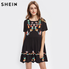 SHEIN Woman's Fashion 2017 Floral Symmetric Print Buttoned Keyhole Back Smock Dress Black Short Sleeve A Line Boho Dress