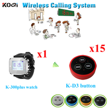 Wrist Watch Pager System Food Service Stand Pager Electronic Remote Control Restaurant Pager ( 1pcs watch + 15pcs call button)