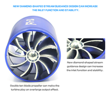 Blue F1-Z Double Supercharger Fuel Gas Saver Fan Universal Turbine Turb Air Intake