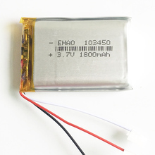1800mAh 3.7V Lithium Polymer LiPo Rechargeable Battery li ion cells 3 wires 103450 For Mp3 DVD PAD PSP mobile phone camera GPS