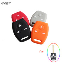 RIN Silicone 3 Buttons Remote Key Cover For Honda Civic Accord Crosstour Pilot Cr-v Hrv Insight odyssey Case(China)