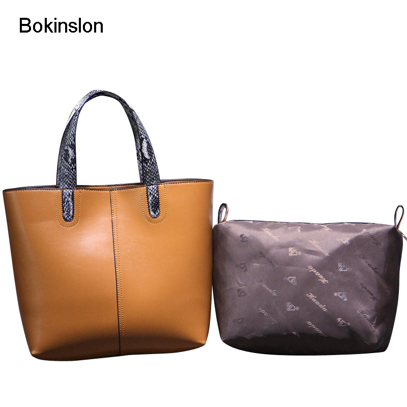Bokinslon Bags Woman Handbags Split Leather Fashion Female Big Bags Solid Color High Quality Ladies Leather Bags <br>