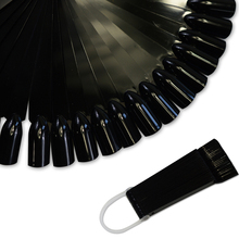 32tips Black Polish Color Display Fan Shape Practice Chart Nail Art False Fake Tips Nail Display Manicure Accessory TRND295