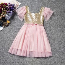 Retail Free Shipping! NEW Girls Baby Toddler Golden Sequined Tulle Party Dress Ball Gown Sparkling 1-6 Years 50% off Now!(China)