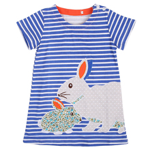 Summer Baby Kids Girls Toddlers Short sleeve Cute Rabbit Blue Striped Sun Dress 2-7Y baby girl summer dress(China)