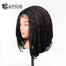 14'' Short Black Bob Wig Cheap Short Synthetic Wigs For Black women Lace Front Wigs Braided Box Braid crochet hair Wig(China)