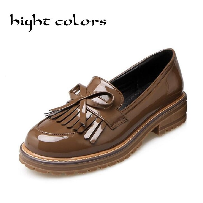 Vintage British Style Thick Heel Tassel Sweet Bow Patent Women Slip-on Casual Flat Oxford Shoes Fashion Girls Loafers Shoes 43<br><br>Aliexpress