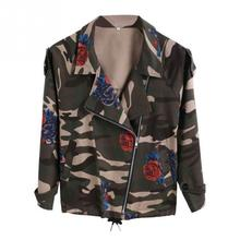 2017 NEW Fasion Plus Size Autumn Winter Army Green Camouflage Long Sleeve Rose Floral Print Short Women Denim Jackets Coat