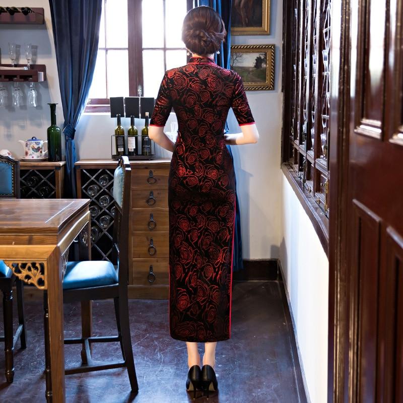 Black-Red Traditional Chinese Dress Women\`s Satin Long Cheongsam Qipao Flower Short Sleeve Chinese Oriental Dresses Size M-4XL (3)