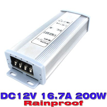 ups power supply 12v 16.7a 200w Waterproof Power Supplies Switching AC180v-240v to DC12v  Led Driver for Led display strip light