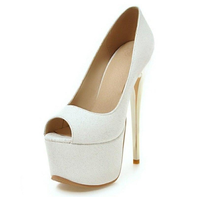 DoraTasia 2017 Open Peep Toe Platform Shoes Women White Blue Pink Pumps Sexy Small Big Size 30-48 High Heel Woman Pumps<br><br>Aliexpress