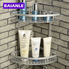 Free Shipping Wall Mounted finish NEW Space Alumnium Bathroom Shower Shelf Basket Holder Building materials(China)
