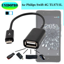 Micro USB 2.0 OTG Cable Adaptateur for Philips Swift 4G TLS711L USB 2.0 Femelle vers Micro USB Male On-the-go Host Converter(China)