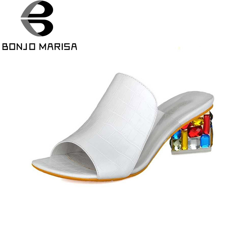 BONJOMARISA Colorful Rhinestone Heels Summer Shoes For Woman 2017 Elegant White Slippers Chunky Heels Party Wedding Women Shoes(China)