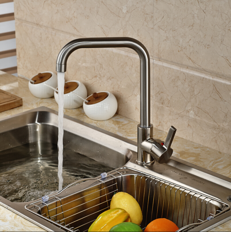 Deck Mount Single Lever Kitchen Mixer Water Faucet Brushed Nickel Hot and Cold Water Kitchen Cock Taps<br><br>Aliexpress