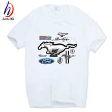 Hecoolba 2017 Men American Ford Mustang Logo White Fashion T-shirt O-Neck Short sleeves Summer Casual Cool Design T Shirt HCP597