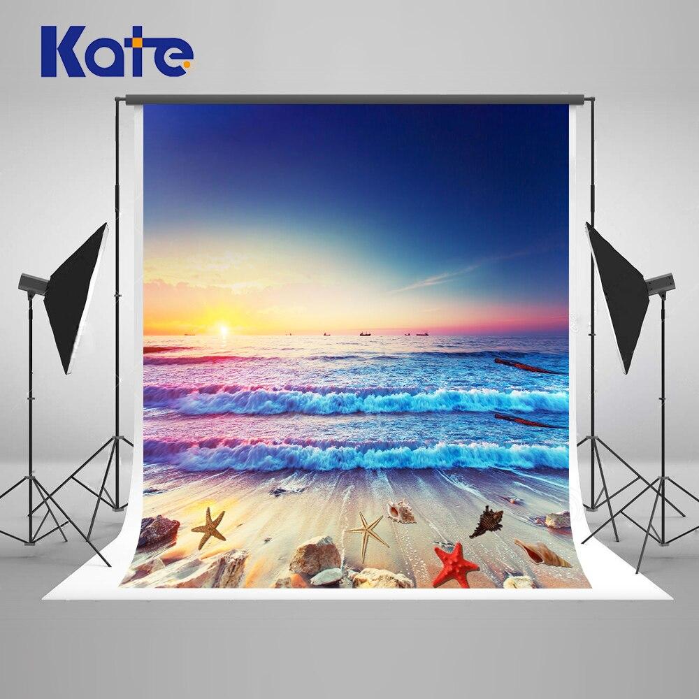 Kate Sea Blue Sky Photobooth Background Sunset Shellfish Starfish Photo Studio Background Children Party Photo Backdrop<br>