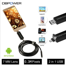 DBPOWER Android&PC USB Endoscope Inspection Camera 7MM 5/7/10 M 0.3MP HD Borescope Video Cam 6 Adjust LED Night Vision DC 5V