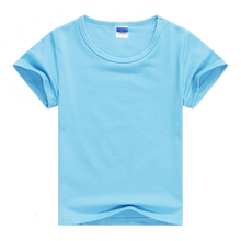 Child Unisex Plain Basic T Shirts Girls Boys Blue Blank 100% Cotton Tops Tees 2017 Summer Kids Clothing 2 3 4 6 8 10 12T KT1424(China)