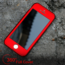 Luxury Slim Mat Red Full Cover For Apple iPhone 5 5S SE 6 6S Plus Hard PC 360 Degree Full Body Case Free Glass Screen Protector