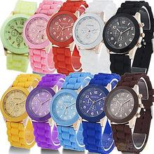 New! 2016 New Colorful Unisex Geneva Silicone Jelly Gel Quartz Analog Sports Wrist Watch For Woman 732W Birthday Gifts