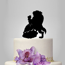 2017 Acrylic Beauty And The Beast Wedding Cake Topper/Wedding Stand/Wedding Decoration Wedding Cake Accessories Casamento