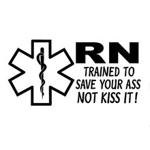 19.4CM*10.2CM RN Decal Medic Star Of Life Trained To Save Medical Car Sticker And Decals Motorcycle Styling Black Sliver C8-0671(China)
