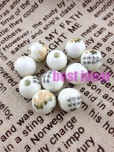 Free Shipping 100pcs/lot Round 10-14mm Flowers &Chinese characters Smooth Bead Ceramic Porcelain Loose Beads Fit Charms Jewelry(China)
