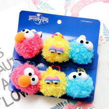3pcs Sesame Street Elmo Monster Hair Hoop Hair Accessories Hairpin Hair Rope Plush Soft Toy For Baby Girls Birthday Gifts(China)