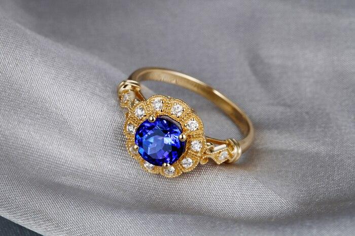 1-49ct-Violet-Blue-AAA-Tanzanite-Diamond-14k-Yellow-Gold-Engagement-Vintage-Ring