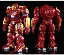 Gold-plated Avengers Iron Man Hulkbuster Armor Joints Movable 18CM Mark With LED Light PVC Action Figure Collection Toy #EA