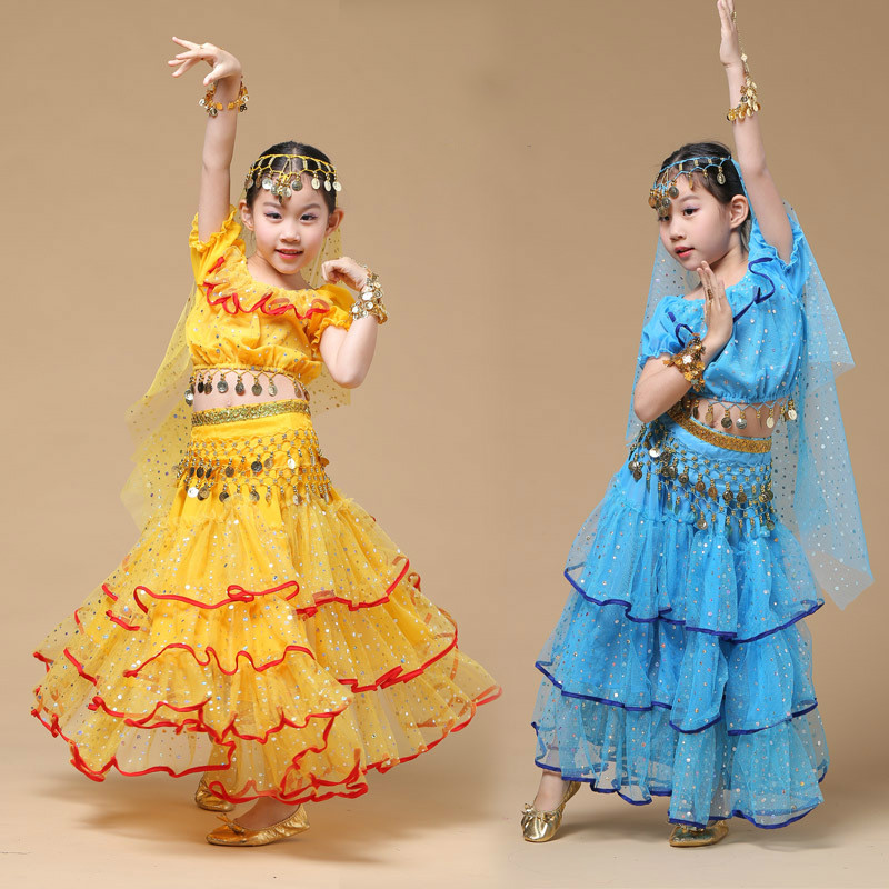Children Belly Dance Costume Sets Kids India Dancing Dress Paillette Tassel Bellydance Costume Girl Stage Bollywood Clothing 89(China)