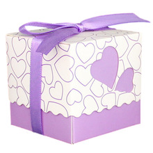 30pcs Love Heart Small Laser Cut Gift Candy Boxes Wedding Party Favor Candy Bags With Ribbon Decor, Purple