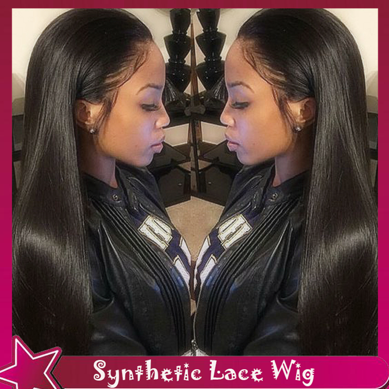 Top Selling Cheap Synthetic Lace Front Wigs Long Black Silky Straight Wig Glueless Hair Middle Parting No Lace Wigs For Women<br><br>Aliexpress