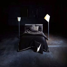 Luxury Black Wedding Embroidery Long-staple Egyptian cotton Bedding Sets duvet cover set Queen king size 1.5m-2m/bed set