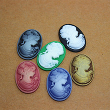 wholesale 100pcs/lot 18*25mm vintage resin beauty lady cameo flat back cabochon for craft scrapbooking(China)