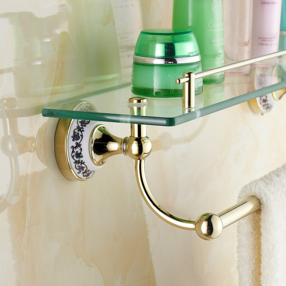Wall Mounted Golden Polished Bathroom Accessories Bathroom Shelves of blue and white porcelain Racks<br>