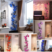 Removable Colorful Rose Flower Rattan Wall Stickers for Living Room Bedroom Flowers Stickers DIY Acrylic Poster Home Decoration