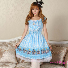 Muchacha de la princesa alicia azul y el conejo musical tea party sweet lolita dress