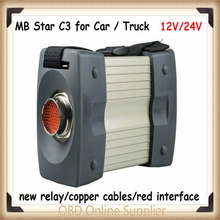 Hot selling (12v/24v )MB STAR C3 without software All New red Relay and five Strong Copper Cable star c3 Support cars and trucks