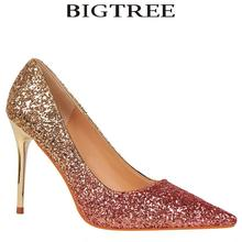Bigtree Brand Women Shoes Sexy Metal Heel Sequined Women's Gradient Heels 9.5cm Super High Pointed Toe Pumps Gold Wedding Shoes(China)