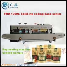 FRD-1000 Solid-ink codiong band sealer ,automatic plastic film sealing machine for food bags and aluminum bags and craft bags(China)