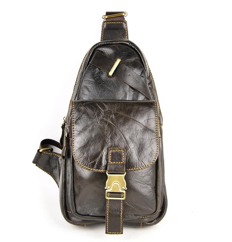 Punk High Quality Vintage Casual PU Leather Cowhide Men Chest Bag Pack Shoulder Cross Body Men Bags <br>