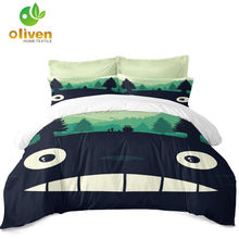 Cuet Totoro Bedding Set Kids Cartoon Duvet Cover Set Colorful Plant Print Bed Cover Festival Gift Pillowcase Home Decor D40(China)